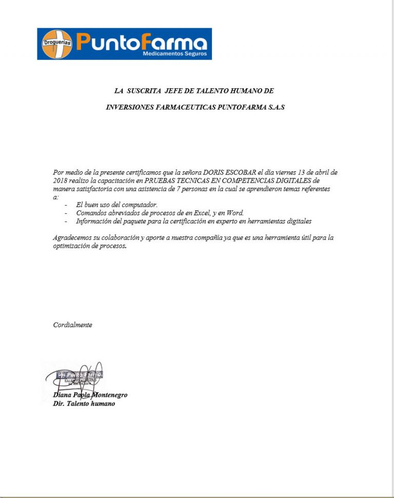certificado puntofarma